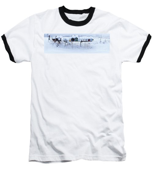 Winter Mailbox Panorama Baseball T-Shirt