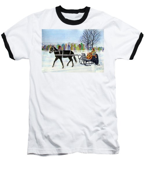 Baseball T-Shirt featuring the painting Winter Sleigh Ride by Carol Flagg
