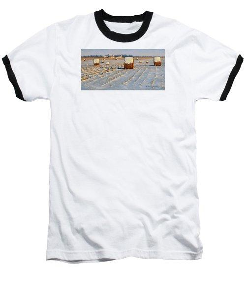 Winter Stubble Bales Baseball T-Shirt by Bruce Morrison