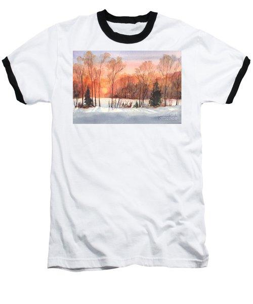 A Hedgerow Sunset Baseball T-Shirt by Carol Wisniewski