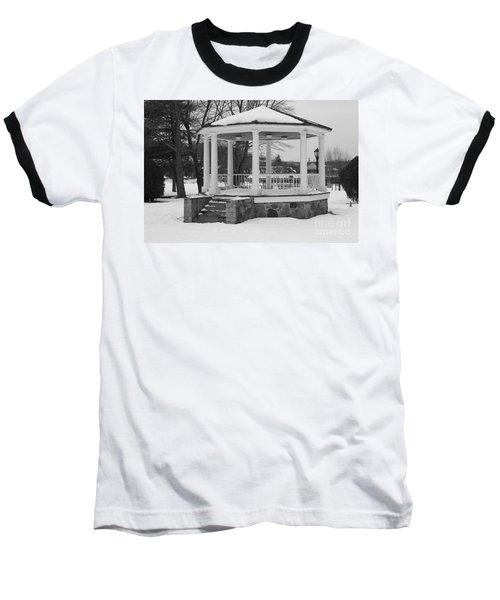 Winter Time Gazebo Baseball T-Shirt by John Telfer