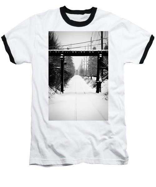 Winter Tracks Baseball T-Shirt by Aaron Berg