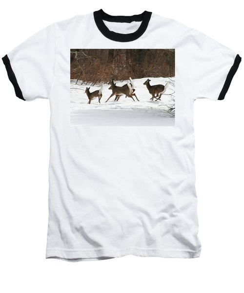 White Tailed Deer Winter Travel Baseball T-Shirt