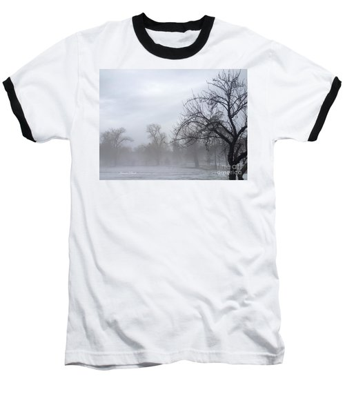 Baseball T-Shirt featuring the photograph Winter Trees With Mist by Jeannie Rhode