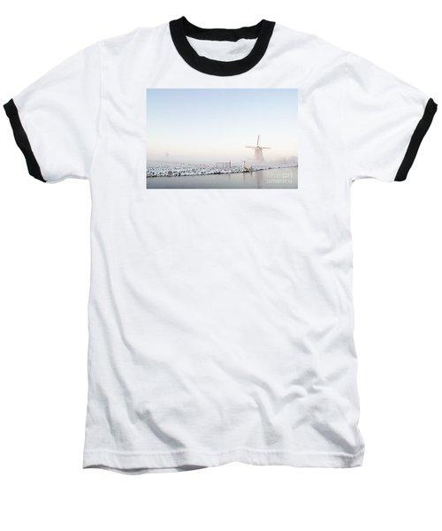 Winter Windmill Landscape In Holland Baseball T-Shirt