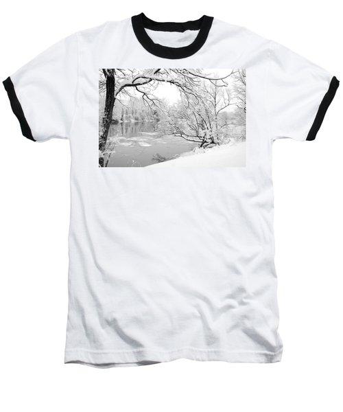 Winter Wonderland In Black And White Baseball T-Shirt