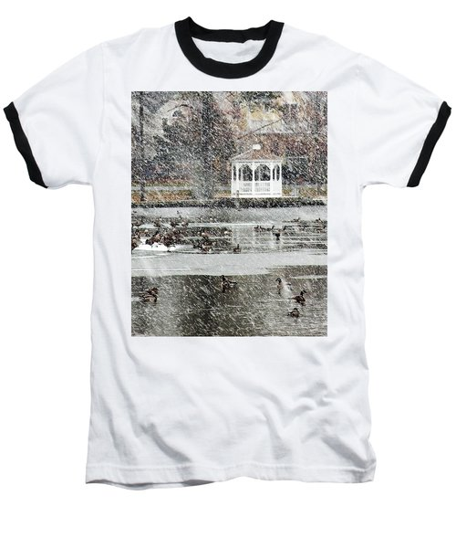 Wintering Geese On Silver Lake Baseball T-Shirt