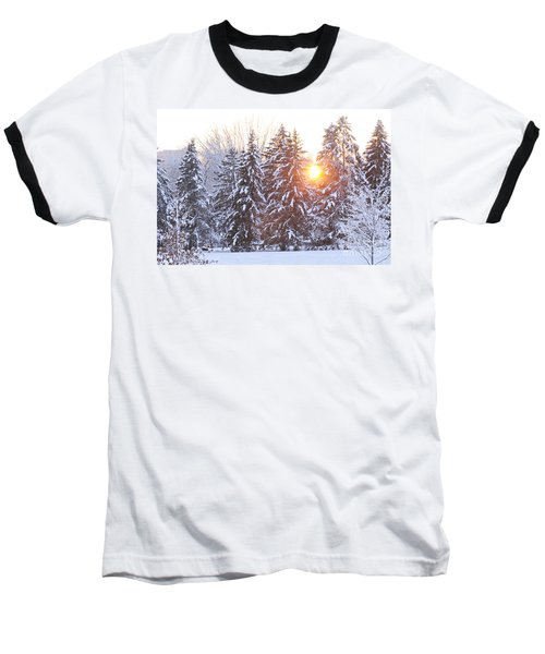 Wintry Sunset Baseball T-Shirt