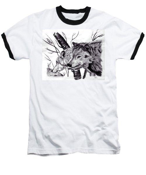Baseball T-Shirt featuring the drawing Wolves by Mayhem Mediums