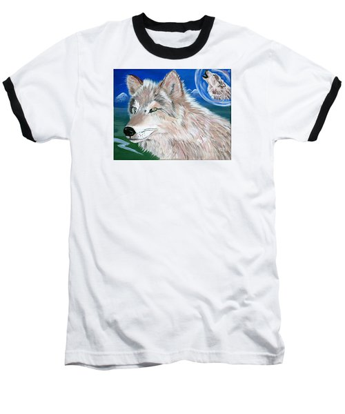 Baseball T-Shirt featuring the painting Wolves by Phyllis Kaltenbach