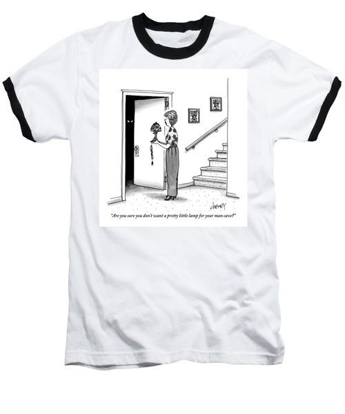 Woman Holding Lamp Stands At Dark Bedroom Doorway Baseball T-Shirt