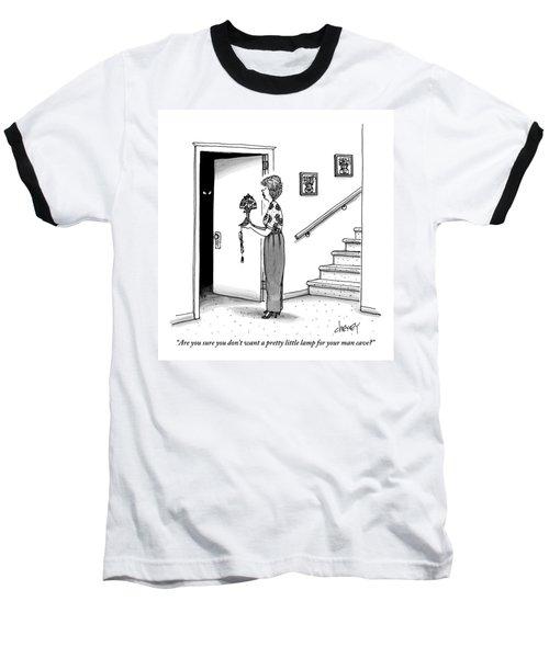Woman Holding Lamp Stands At Dark Bedroom Doorway Baseball T-Shirt
