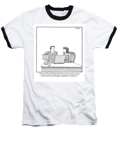 Woman Speaks To Husband As They Sit Behind A Desk Baseball T-Shirt