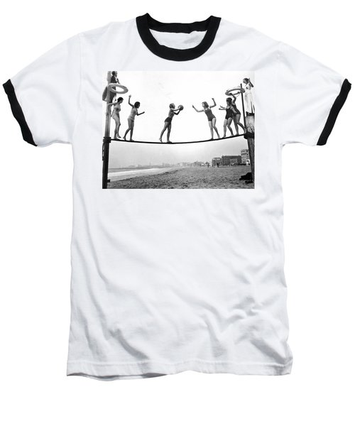 Women Play Beach Basketball Baseball T-Shirt by Underwood Archives