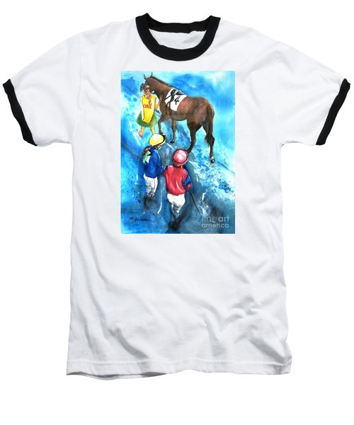 Baseball T-Shirt featuring the painting Giddy Up Girls by Therese Alcorn
