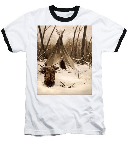 Baseball T-Shirt featuring the painting Wood Gatherer by Nancy Griswold