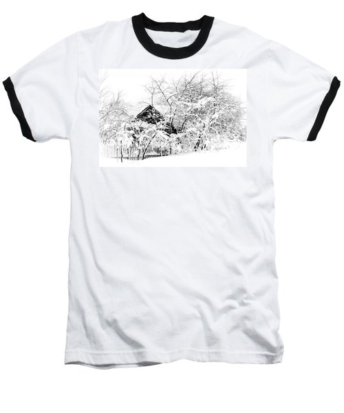 Wooden House After Heavy Snowfall. Russia Baseball T-Shirt