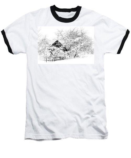 Wooden House After Heavy Snowfall. Russia Baseball T-Shirt