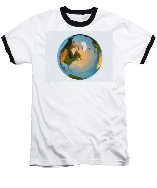 Baseball T-Shirt featuring the painting World 3d Globe by Georgi Dimitrov