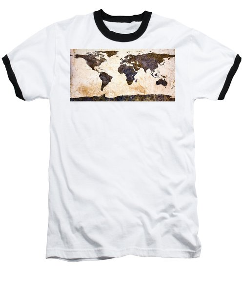 World Map Abstract Baseball T-Shirt