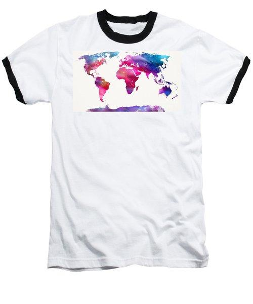 World Map Light  Baseball T-Shirt by Mike Maher
