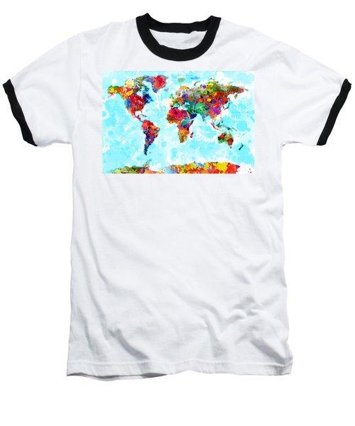 World Map Spattered Paint Baseball T-Shirt