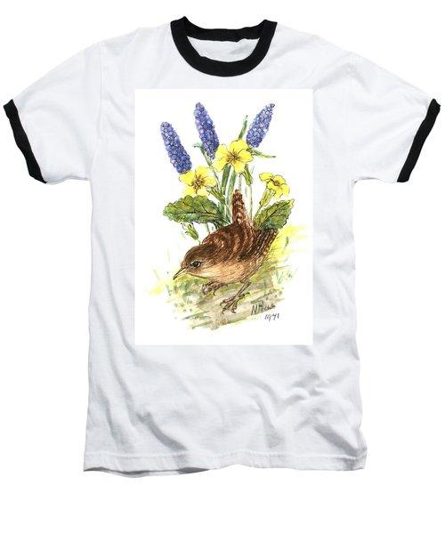 Wren In Primroses  Baseball T-Shirt by Nell Hill