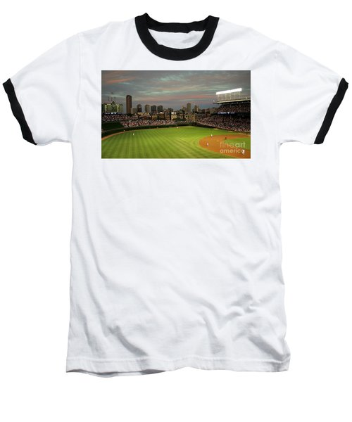 Wrigley Field At Dusk Baseball T-Shirt