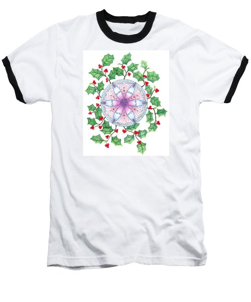 Baseball T-Shirt featuring the drawing X'mas Wreath by Keiko Katsuta
