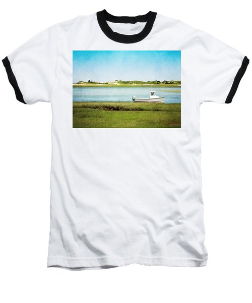 Baseball T-Shirt featuring the photograph Yarmouth Port Fishing Boat In Green And Blue by Brooke T Ryan