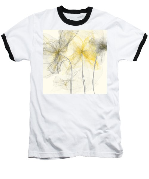 Yellow And Gray Flowers Impressionist Baseball T-Shirt