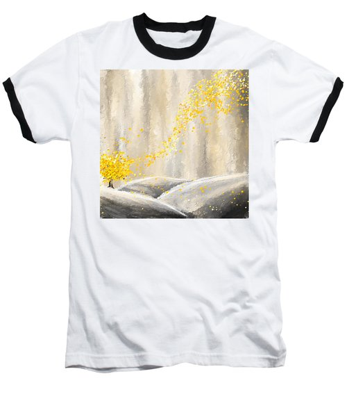 Yellow And Gray Landscape Baseball T-Shirt