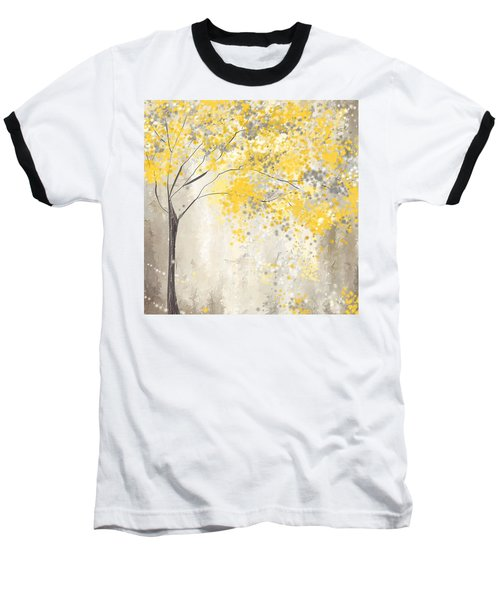 Yellow And Gray Tree Baseball T-Shirt