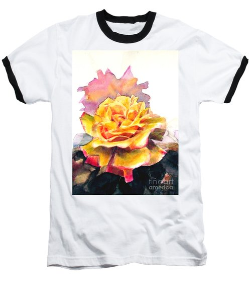 Baseball T-Shirt featuring the painting Yellow Rose Fringed In Red by Greta Corens