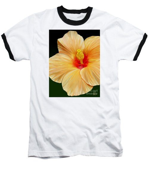 Yellow Hibiscus Baseball T-Shirt by Rand Herron