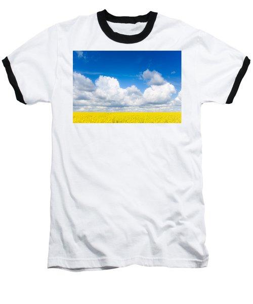 Yellow Mustard Fields Under A Deep Blue Sky Baseball T-Shirt