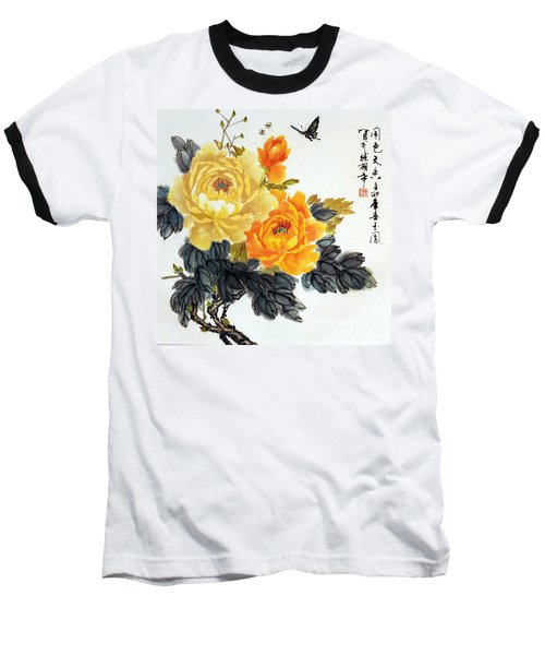 Yellow Peonies Baseball T-Shirt