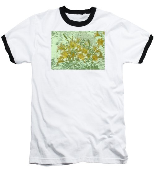 Baseball T-Shirt featuring the photograph Yellow Stargazers On Soft Green by Tom Wurl