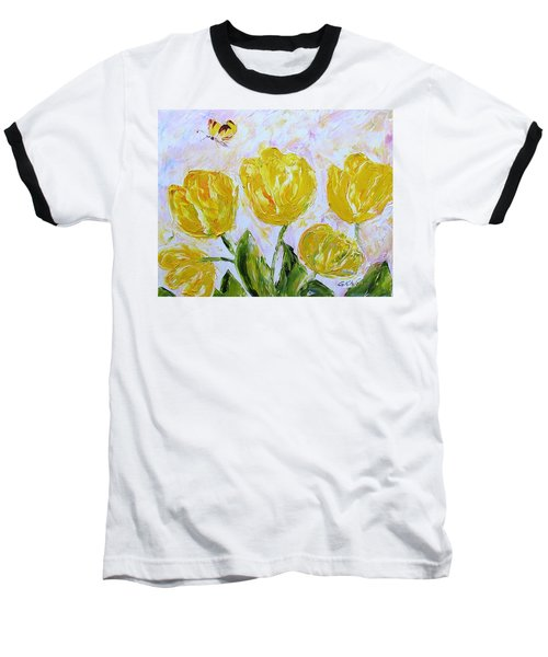 Yellow Tulips And Butterfly Baseball T-Shirt