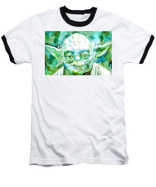 Yoda Watercolor Portrait Baseball T-Shirt