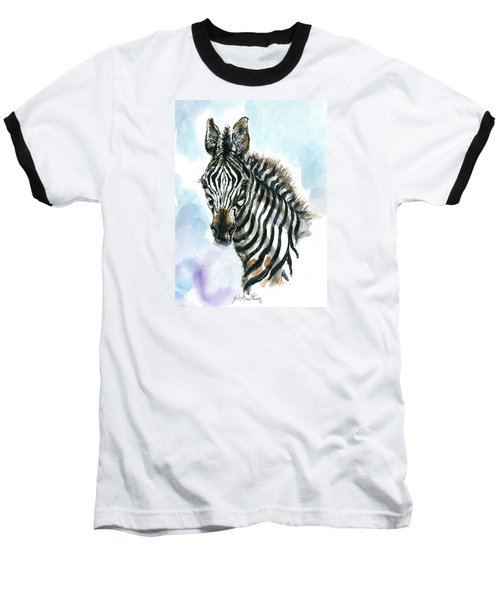Baseball T-Shirt featuring the painting Zebra 1 by Mary Armstrong