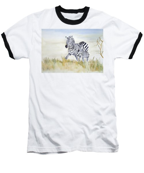 Zebra Family Baseball T-Shirt by Laurel Best