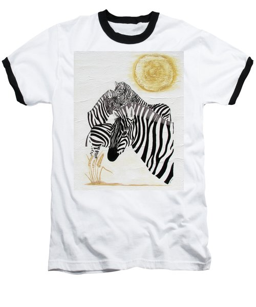 Baseball T-Shirt featuring the painting Zebra Quintet by Stephanie Grant