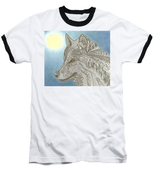 Zen Wolf Moon Baseball T-Shirt