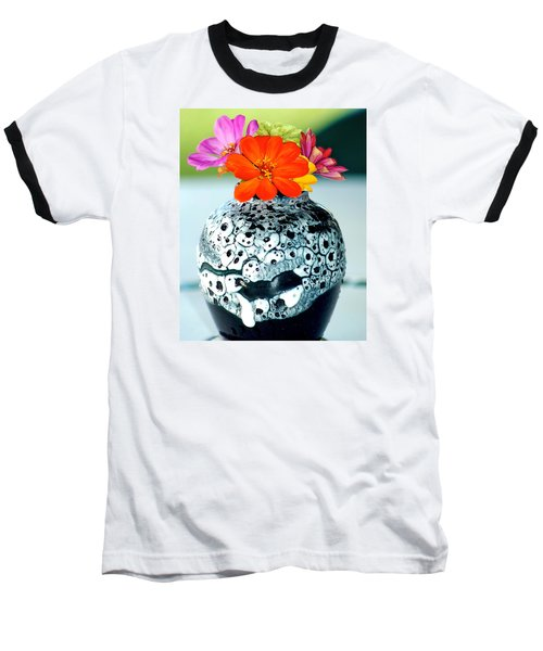 Baseball T-Shirt featuring the photograph Zinnia In Vase by Lehua Pekelo-Stearns