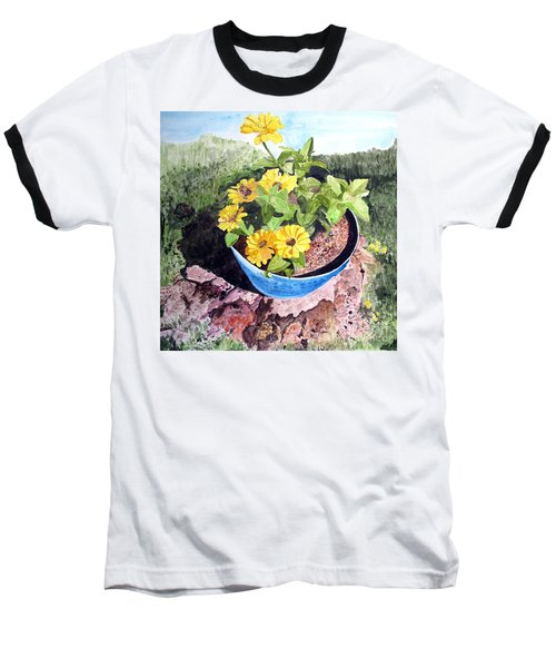 Zinnia On A Tree Stump Baseball T-Shirt by Sandy McIntire