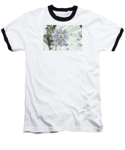 Baseball T-Shirt featuring the photograph  Passion Flower On White by Tom Wurl