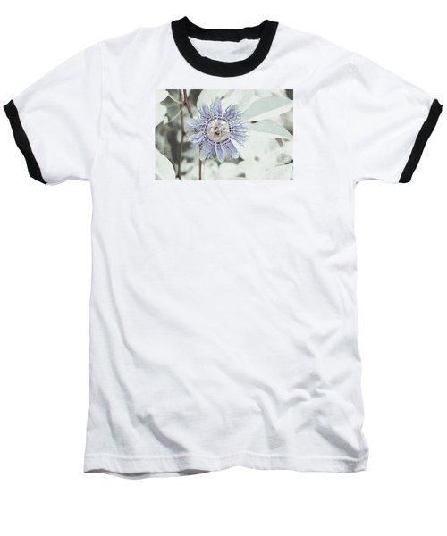Passion Flower On White Baseball T-Shirt by Tom Wurl