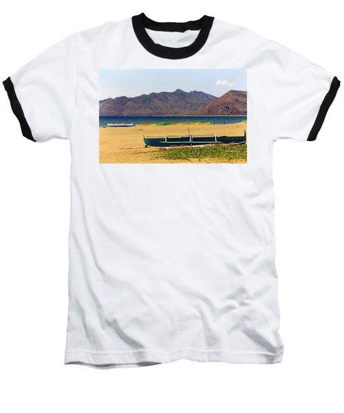 Boats On South China Sea Beach Baseball T-Shirt by Amelia Racca