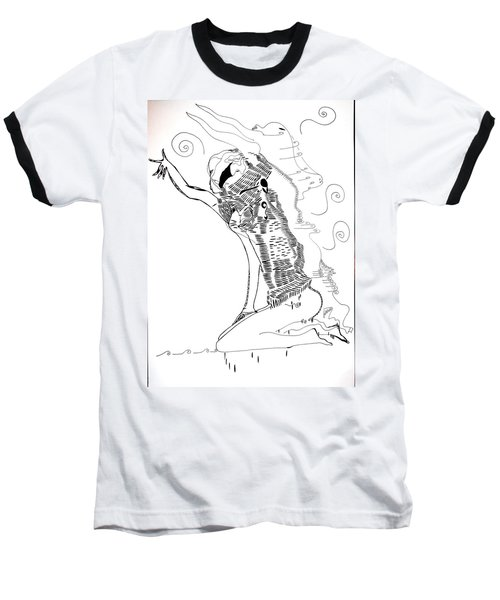 Baseball T-Shirt featuring the drawing Dinka Dance - South Sudan by Gloria Ssali